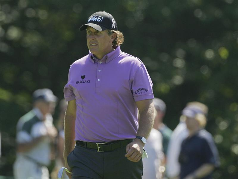NORTON, MA - SEPTEMBER 04:  Phil Mickelson of the United States reacts to his shot from the rough during the first round of the Deutsche Bank Championship at TPC Boston held on September 4, 2009 in Norton, Massachusetts.  (Photo by Michael Cohen/Getty Images)
