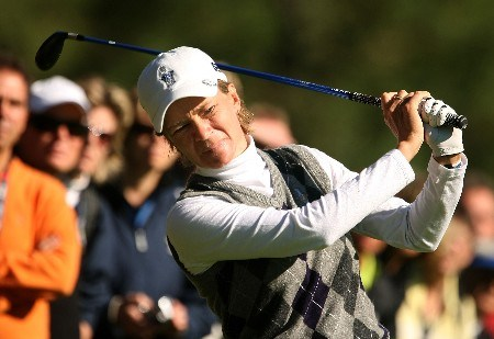 HALMSTAD, SWEDEN - SEPTEMBER 13: Catriona Matthew of Europe hits a shot during practice prior to the start of the Solheim Cup at Halmstad Golf Club on September 13, 2007 in Halmstad, Sweden.  (Photo by Scott Halleran/Getty Images)