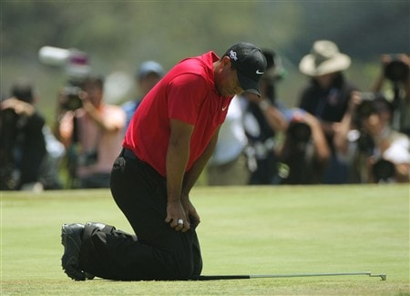 SAN DIEGO - JUNE 16:  Tiger Woods reacts to missing his birdie putt on the 19th hole of the playoff during the playoff round of the 108th U.S. Open at the Torrey Pines Golf Course (South Course) on June 16, 2008 in San Diego, California.  (Photo by Doug Pensinger/Getty Images)