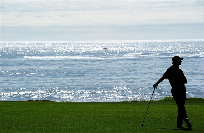 PEBBLE BEACH, CA - FEBRUARY 12:  Retief Goosen of South Africa ponders during round two of the AT&T Pebble Beach National Pro-Am at Pebble Beach Golf Links on February 12, 2010 in Pebble Beach, California.  (Photo by Stuart Franklin/Getty Images)