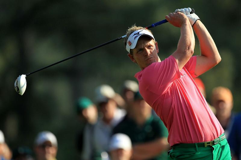 AUGUSTA, GA - APRIL 09:  Luke Donald of England hits his tee shot on the 18th hole during the third round of the 2011 Masters Tournament at Augusta National Golf Club on April 9, 2011 in Augusta, Georgia.  (Photo by David Cannon/Getty Images)