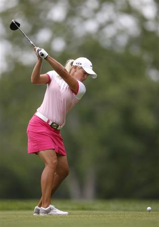 SYLVANIA, OH - JULY 03: Suzann Pettersen hits her tee shot on the 16th hole during the second round of the Jamie Farr Owens Corning Classic at Highland Hills Golf Club on July 3, 2009 in Sylvania, Ohio. (Photo by Gregory Shamus/Getty Images)