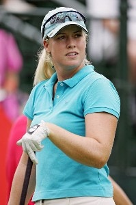 Brittany Lincicome gets set to tee off on the first hole of sudden death against Michele Redman during first round action of the HSBC Women's World Match Play Championship at Hamilton Farm Golf Club in Gladstone, NJ on Thursday, July 6, 2006.Photo by Richard Schultz/WireImage.com