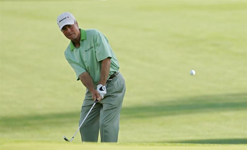 TIMONIUM, MD - OCTOBER 12: Ben Crenshaw plays his third shot on the 16th hole during the final round of the Constellation Energy Senior Players Championship at Baltimore Country Club East Course held on October 12, 2008 in Timonium, Maryland (Photo by Michael Cohen/Getty Images)