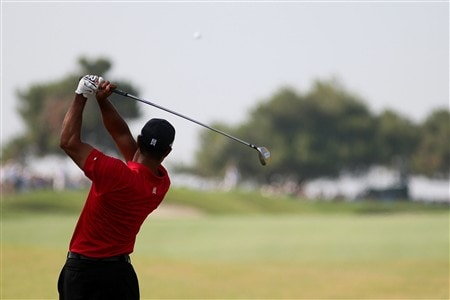 SAN DIEGO - JUNE 16:  Tiger Woods hits his tee shot on the second hole during the playoff round of the 108th U.S. Open at the Torrey Pines Golf Course (South Course) on June 16, 2008 in San Diego, California.  (Photo by Ross Kinnaird/Getty Images)