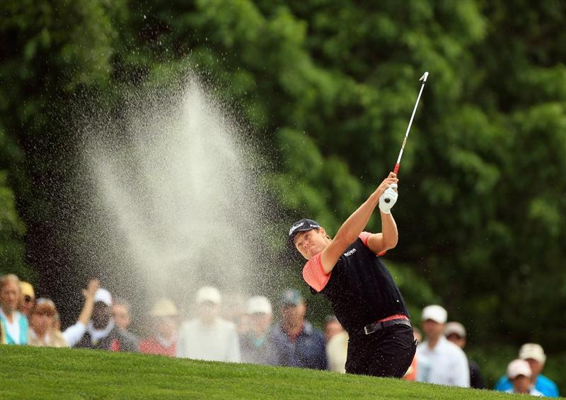 CHARLOTTE, NC - MAY 06:  Nick Watney hits a shot from the sand on the 4th hole during the second round of the Wells Fargo Championship at Quail Hollow Club on May 6, 2011 in Charlotte, North Carolina.  (Photo by Streeter Lecka/Getty Images)