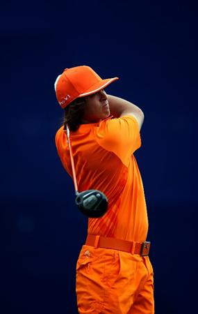 LA JOLLA, CA - JANUARY 30: Rickie Fowler tees off the 7th hole during the final round of the Farmers Insurance Open at the Torrey Pines South Course on January 30, 2011 in La Jolla, California.  (Photo by Donald Miralle/Getty Images)