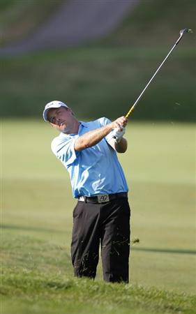 CANONSBURG, PA - SEPTEMBER 03:  Alistair Presnell of Australia hits to the first green during the second round of the Mylan Classic presented by CONSOL Energy at Southpointe Golf Club on September 3, 2010 in Canonsburg, Pennsilvania.  (Photo by Gregory Shamus/Getty Images)