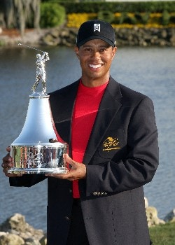 ORLANDO, FL - MARCH 16: Tiger Woods of the USA poses with the trophy after the final round of the 2008 Arnold Palmer Invitational presented by MasterCard at the Bay Hill Golf Club and Lodge, on March 16, 2008 in Orlando, Florida.  (Photo by David Cannon/Getty Images)
