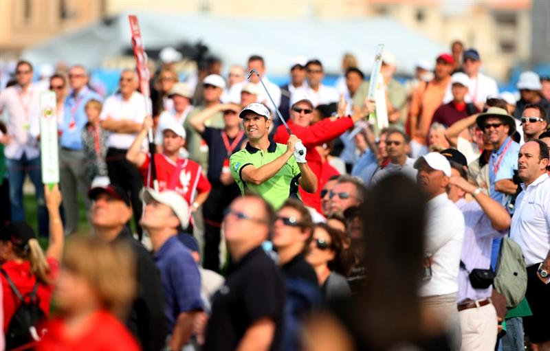 ABU DHABI, UNITED ARAB EMIRATES - JANUARY 16:  Padraig Harrington of Ireland watches his second shot on the first hole during the second round of The Abu Dhabi Golf Championship at Abu Dhabi Golf Club on January 16, 2009 in Abu Dhabi, United Arab Emirates.  (Photo by Andrew Redington/Getty Images)