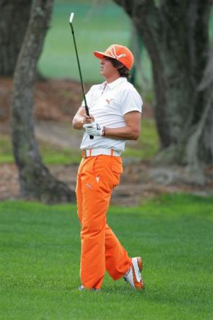 PALM HARBOR, FL - MARCH 21:  Rickie Fowler hits his third shot on the first hole from the rough during the final round of the Transitions Championship at the Innisbrook Resort and Golf Club on March 21, 2010 in Palm Harbor, Florida.  (Photo by Michael Cohen/Getty Images)