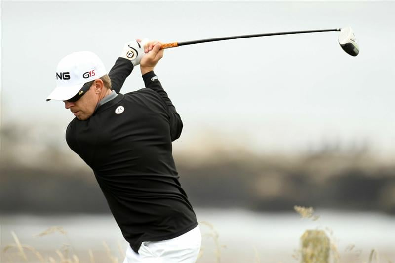 PEBBLE BEACH, CA - JUNE 15:  Hunter Mahan hits a shot during a practice round prior to the start of the 110th U.S. Open at Pebble Beach Golf Links on June 15, 2010 in Pebble Beach, California.  (Photo by Ross Kinnaird/Getty Images)