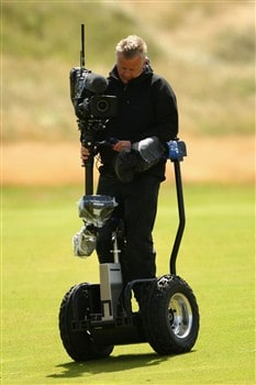 SOUTHPORT, UNITED KINGDOM - JULY 19:  A cameraman on a segway captures the play during the third round of the 137th Open Championship on July 19, 2008 at Royal Birkdale Golf Club, Southport, England.  (Photo by Richard Heathcote/Getty Images)