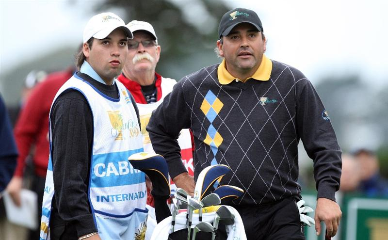 SAN FRANCISCO - OCTOBER 11:  Angel Cabrera of Argentina and the International Team on the 2nd hole during the Day Four Singles Matches in The Presidents Cup at Harding Park Golf Course on October 11, 2009 in San Francisco, California  (Photo by David Cannon/Getty Images)