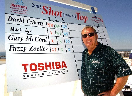 Fuzzy Zoeller stands next to the 'leaderboard' after winning The Champions' Tour 2005 Toshiba Classic's 'Closet To The Pin' from the 16th floor at the Newport Beach Marriott Hotel in Newport Beach, California March 15, 2005.