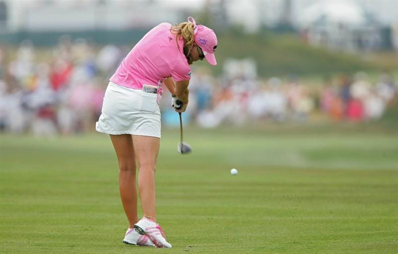 GALLOWAY, NJ - JUNE 20: Paula Creamer hits her second shot on the third hole during the final round of the ShopRite LPGA Classic held at Dolce Seaview Resort (Bay Course) on June 20, 2010 in Galloway, New Jersey.  (Photo by Michael Cohen/Getty Images)