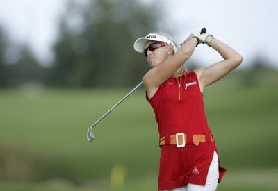 Carin Koch drives on the fourth tee during the Pro Am of the SBS Open Feb. 15, 2006 at the Turtle Bay Resort Golf Club in Kahuku, on the island of Oahu, Hawaii.Photo by Marco Garcia/WireImage.com