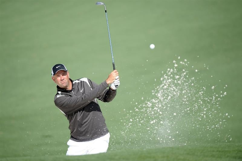 AUGUSTA, GA - APRIL 09:  Stewart Cink plays a shot from a bunker on the second hole during the second round of the 2010 Masters Tournament at Augusta National Golf Club on April 9, 2010 in Augusta, Georgia.  (Photo by Harry How/Getty Images)