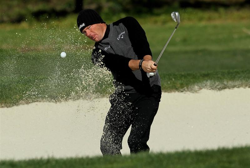 PEBBLE BEACH, CA - FEBRUARY 14:  Alex Cejka of Germany hits out of a bunker on the second hole during the final round of the AT&T Pebble Beach National Pro-Am at Monterey Peninsula Country Club on February 14, 2010 in Pebble Beach, California. (Photo by Stephen Dunn/Getty Images)