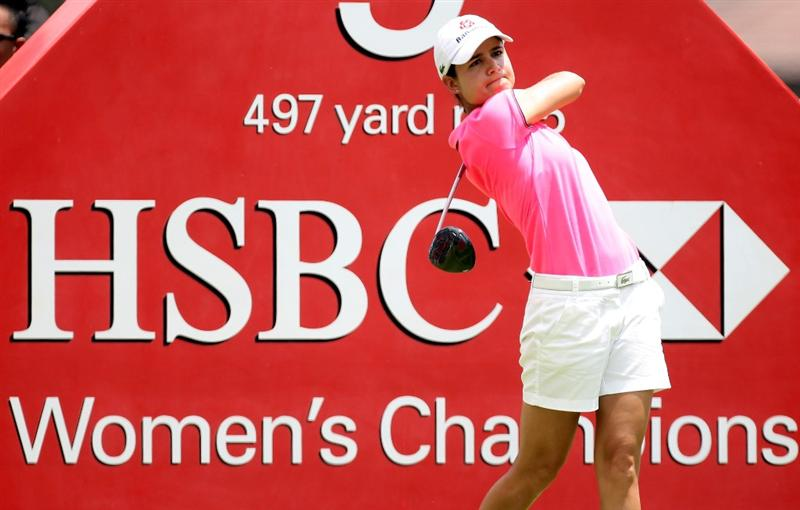 SINGAPORE - FEBRUARY 25:  Lorena Ochoa of Mexico on the 9th tee during the first round of the HSBC Women's Champions at the Tanah Merah Country Club on February 25, 2010 in Singapore.  (Photo by Ross Kinnaird/Getty Images)