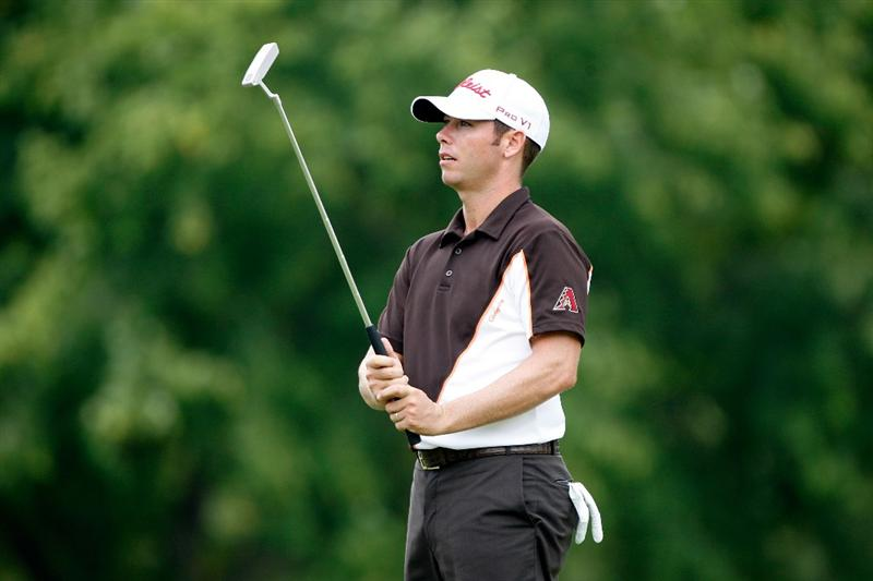 GREENSBORO, NC - AUGUST 20:  Chez Reavie reacts to missing a putt for birdie on the 9th hole during the first round of the Wyndham Championship at Sedgefield Country Club on August 20, 2009 in Greensboro, North Carolina  (Photo by Streeter Lecka/Getty Images)