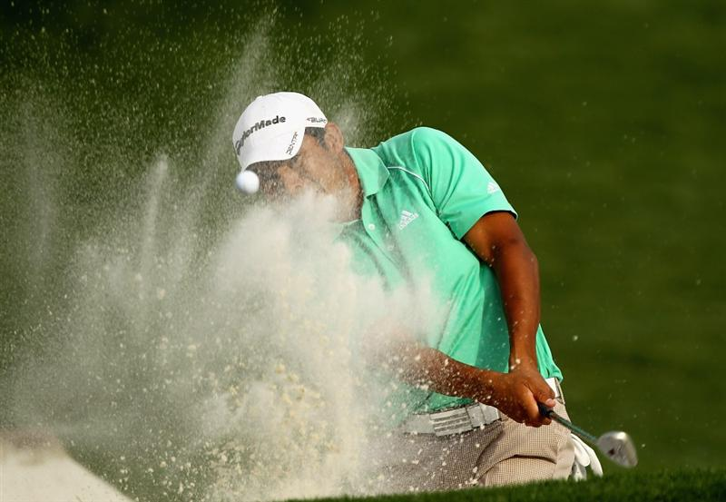 CHARLOTTE, NC - MAY 07:  Andres Romero of Argentina hits a bunker shot on the 18th hole during the third round of the Wells Fargo Championship at the Quail Hollow Club on May 7, 2011 in Charlotte, North Carolina.  (Photo by Scott Halleran/Getty Images)
