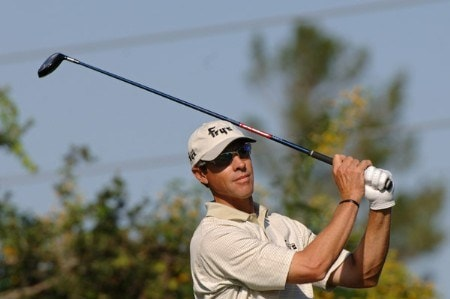 Jeff Brehaut drives from the tee on the seventh hole during the first round on the Copperhead Course of the 2005 Chrysler Championship October 27 in Palm Harbor, Florida. Brehaut shot a 66 to take a two-stroke in the tournament.Photo by Al Messerschmidt/WireImage.com