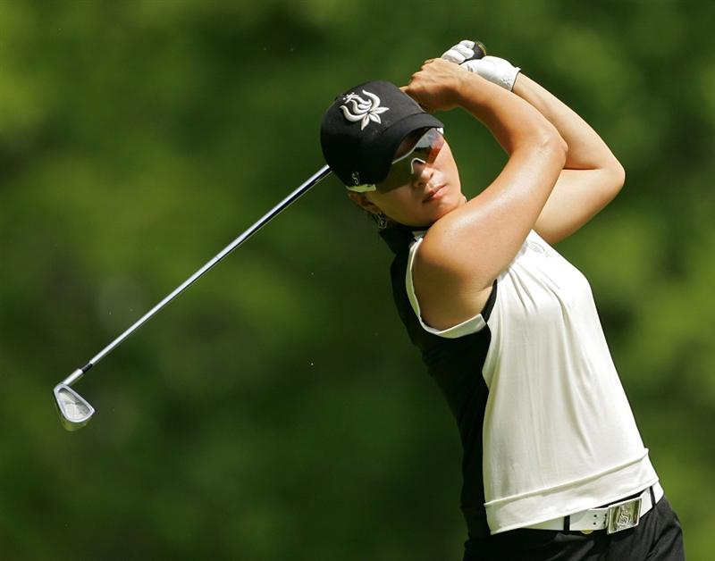 CORNING, NY - MAY 22:  Se Ri Pak of South Korea hits an iron shot during the second round of the LPGA Corning Classic at the Corning Country Club held on May 22, 2009 in Corning, New York.  (Photo by Michael Cohen/Getty Images)