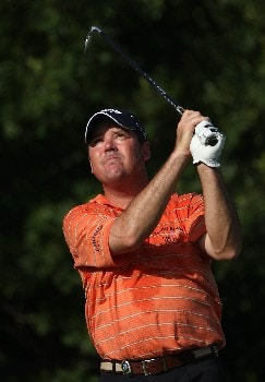 TULSA, OK - AUGUST 09:  Rich Beem watches his tee shot on the 11th hole during the first round of the 89th PGA Championship at the Southern Hills Country Club on August 9, 2007 in Tulsa, Oklahoma.  (Photo by Jamie Squire/Getty Images)