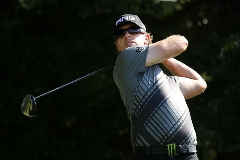ATLANTA - SEPTEMBER 25:  Hunter Mahan hits his tee shot on the third hole during the third round of THE TOUR Championship presented by Coca-Cola at East Lake Golf Club on September 25, 2010 in Atlanta, Georgia.  (Photo by Scott Halleran/Getty Images)