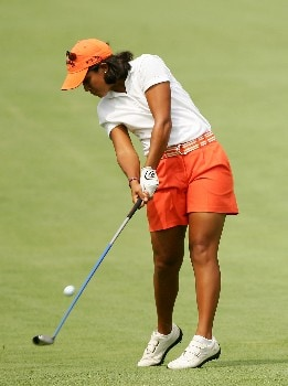 NEW ROCHELLE, NY - JULY 19:  Julieta Granada of Paraguay hits her approach shot on the 9th hole during the first round of the HSBC Women's World Match Play at Wykagyl Country Club on July 19, 2007 in New Rochelle, New York. (Photo by Sam Greenwood/Getty Images)