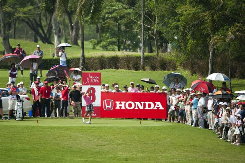 CHON BURI, THAILAND - FEBRUARY 18:  Ai Miyazato of Japan tees off on the 8th hole during day two of the LPGA Thailand at Siam Country Club on February 18, 2011 in Chon Buri, Thailand.  (Photo by Victor Fraile/Getty Images)