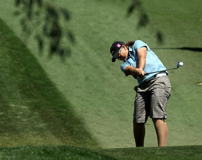 RANCHO MIRAGE, CA - APRIL 04:  Karen Stupples of England hits her second shot on the 11th hole during the final round of the Kraft Nabisco Championship at Mission Hills Country Club on April 4, 2010 in Rancho Mirage, California.  (Photo by Stephen Dunn/Getty Images)