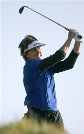 DANVILLE, CA - OCTOBER 10: Michele Redman makes a tee shot on the 6th hole during the second round of the LPGA Longs Drugs Challenge at the Blackhawk Country Club October 10, 2008 in Danville, California. (Photo by Max Morse/Getty Images)