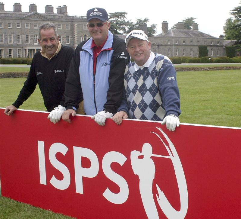 MAYNOOTH, IRELAND - JUNE 10:  (L-R) Sam Torrance of Scotland, Sandy Lyle of Scotland and Ian Woosnam of Wales pose at a clinic for the International Blind Golfers Association before the Pro-Am for the Handa Irish Senior Open presented by Failte Ireland at the Montgomerie Course, Carton House GC on June 10, 2010 in Maynooth, Ireland.  (Photo by Phil Inglis/Getty Images)
