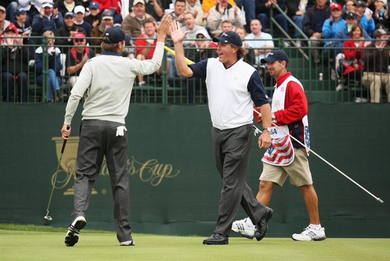 SAN FRANCISCO - OCTOBER 10:  Phil Mickelson and Sean O'Hair of the USA Team celebrate on the 13th green during the Day Three Morning Foursomes Matches of The Presidents Cup at Harding Park Golf Course on October 10, 2009 in San Francisco, California.  (Photo by Warren Little/Getty Images)