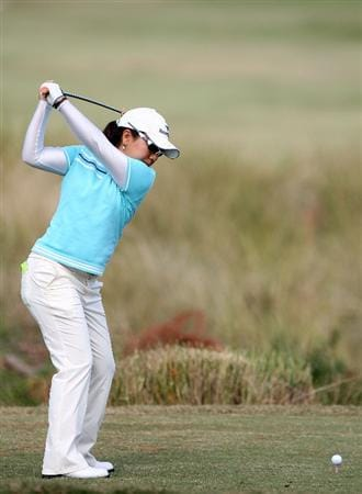 DAYTONA BEACH, FL - DECEMBER 04:  Mika Miyazato of Japan plays a shot on the 16th hole during the second round of the LPGA Qualifying School at LPGA International on December 4, 2008 in Daytona Beach, Florida.  (Photo by Sam Greenwood/Getty Images)