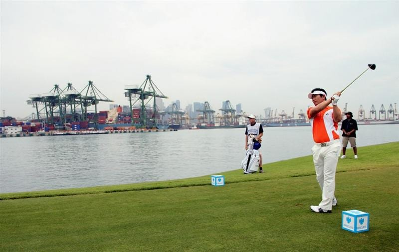 SINGAPORE - NOVEMBER 14: Y.E. Yang of South Korea tees off on the 6th hole during the Final Round of the Barclays Singapore Open held at the Sentosa Golf Club on November 14, 2010 in Singapore, Singapore.  (Photo by Stanley Chou/Getty Images)