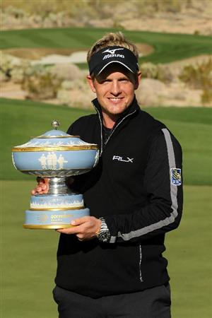 MARANA, AZ - FEBRUARY 27:  Luke Donald of England celebrates with The Walter Hagen Cup trophy after winning his match 3-up on the 16th hole during the final round of the Accenture Match Play Championship at the Ritz-Carlton Golf Club on February 27, 2011 in Marana, Arizona.  (Photo by Andy Lyons/Getty Images)
