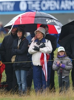 SOUTHPORT, UNITED KINGDOM - JULY 18:  Chris Evert (L), wife of Greg Norman looks on during the second round of the 137th Open Championship on July 18, 2008 at Royal Birkdale Golf Club, Southport, England.  (Photo by Stuart Franklin/Getty Images)