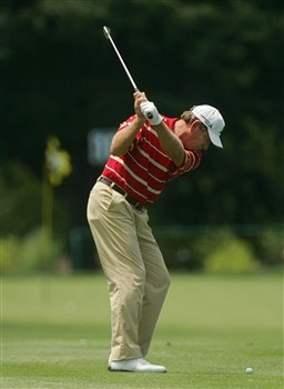 EAST MEADOW, NY - JUNE 29:  Nick Price plays his second shot to the 11th green during the final round of the Commerce Bank Championship at the Red Course at Eisenhower Park June 29, 2008 in East Meadow, New York.  (Photo by Michael Cohen/Getty Images)