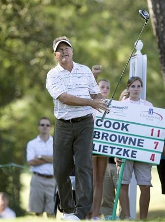 THE WOODLANDS, TX - OCTOBER 18:  John Cook watches his tee shot  on the eighteenth  hole during the final round of the Administaff Small Business Classic at The Woodlands Country Club Tournament Course on October 18, 2009 in The Woodlands, Texas.  (Photo by Bob Levey/Getty Images)