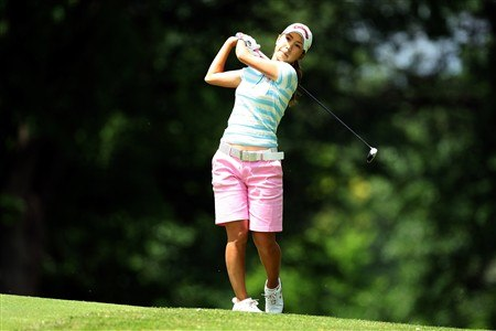 EDINA, MN - JUNE 28:  Momoko Ueda of Japan warms up left handed for her second shot at the 3rd hole during the third round of the 2008 U.S. Women's Open Championship held at Interlachen Country Club on June 28, 2008 in Edina, Minnesota.  (Photo by David Cannon/Getty Images)