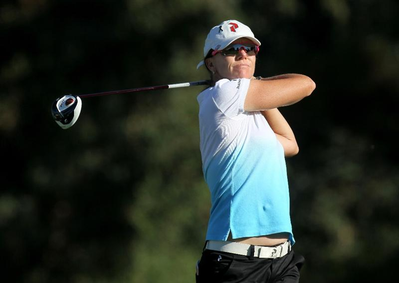 RANCHO MIRAGE, CA - MARCH 31:  Helen Alfredsson of Sweden hits her tee shot on the second hole during the first round of the Kraft Nabisco Championship at Rancho Mirage Country Club on March 31, 2011 in Rancho Mirage, California.  (Photo by Stephen Dunn/Getty Images)