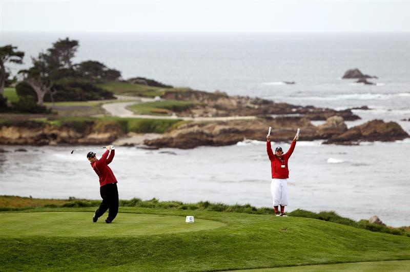 PEBBLE BEACH, CA - FEBRUARY 11: David Duval tees off on the fourth hole during the first round of the AT&T Pebble Beach National Pro-Am at at the Spyglass Hill Golf Course on February 11, 2010 in Pebble Beach, California.  (Photo by Ezra Shaw/Getty Images)