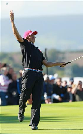 NEWPORT, WALES - OCTOBER 04: Rickie Fowler of the USA throws his ball after halving his match in the singles matches during the 2010 Ryder Cup at the Celtic Manor Resort on October 4, 2010 in Newport, Wales. (Photo by Andrew Redington/Getty Images)