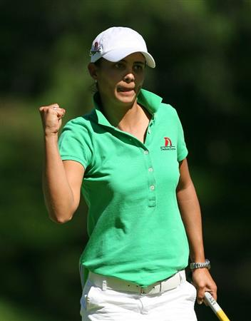 GUADALAJARA, MX - NOVEMBER 13: Sophia Sheridan reacts to saving par on the 5th hole during the first round of the Lorena Ochoa Invitational at Guadalajara Country Club on November 13, 2008 in Guadalajara, Mexico. (Photo by Hunter Martin/Getty Images)