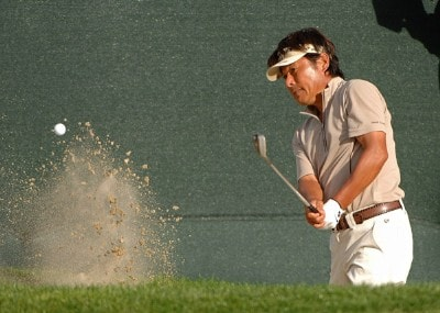 Joe Ozaki hits out of the greenside bunker on the 18th hole during the second round of the Charles Schwab  Cup Championship on October 26, 2007 at the Sonoma Golf Club in Sonoma, California Champions Tour - 2007 Charles Schwab Cup Championship - Second RoundPhoto by Marc Feldman/WireImage.com