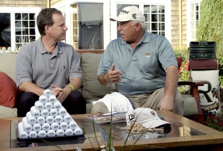 Dave Marr of THE COUCH seen on The Golf Channel, talks with Doug Tewell who is tied for first at minus thirteen at the  2005 JELD-WEN Tradition at The Reserve Vineyards and Golf Club, Saturday, August 27, 2005.Photo by Allan Campbell/WireImage.com