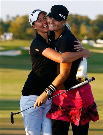 RICHMOND, TX - NOVEMBER 23:  Anna Nordqvist of Sweden, (R) celebrates with Louise Stahle after her Nordqvist's two-stroke victory at the LPGA Tour Championship presented by Rolex at the Houstonian Golf and Country Club on November 23, 2009 in Richmond, Texas.  (Photo by Scott Halleran/Getty Images)